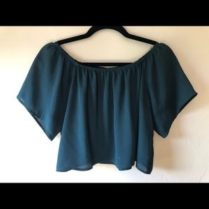 Emerald Green Flowy Crop Top